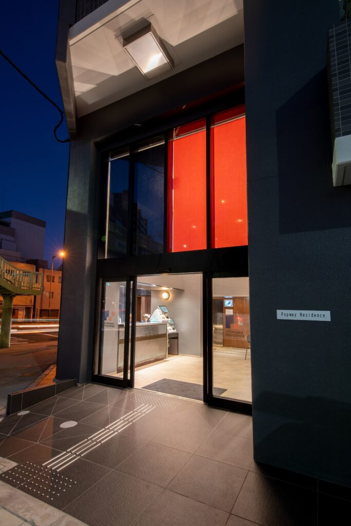 entrance night with curtain